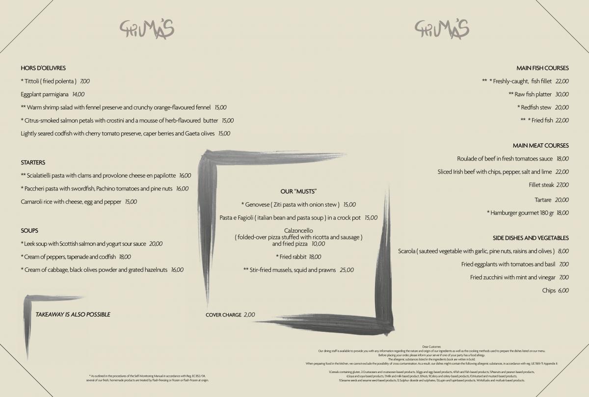 menu chiuma's